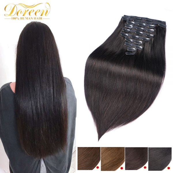 Link Remy Straight Clip In Human Hair Extensions Full Head Set 10Pcs 22 inch 160G 200G 240G